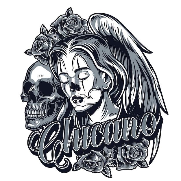 Concetto di tatuaggio chicano monocromatico vintage Vettore gratuito
