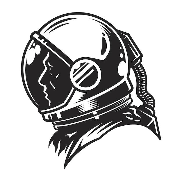 Vintage monochrome cosmonaut profile view template Free Vector