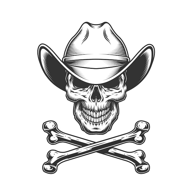 Vintage monochrome cowboy skull and crossbones Free Vector