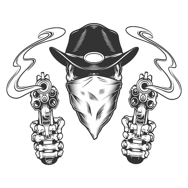 Vintage monochrome cowboy skull Free Vector