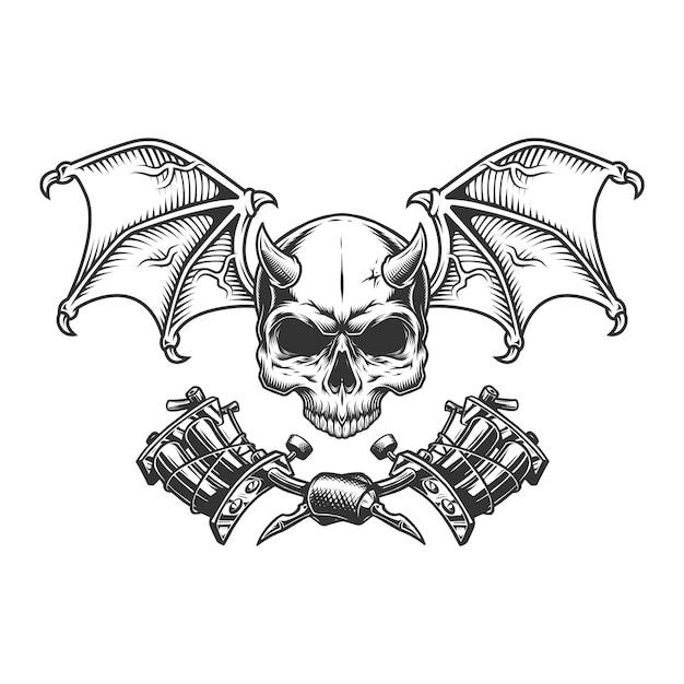 翼を持つヴィンテージモノクロ悪魔スカル 無料ベクター