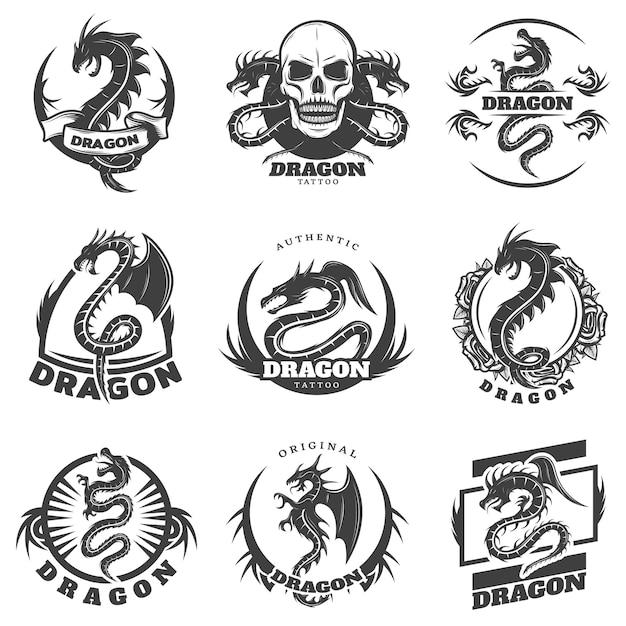 Набор наклеек татуировки винтаж монохромный дракон Бесплатные векторы