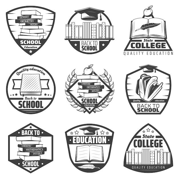 Le etichette di istruzione monocromatiche dell'annata hanno messo con la borsa della piuma della mela del cappuccio di graduazione del quaderno dei libri di scuola delle iscrizioni isolata Vettore gratuito