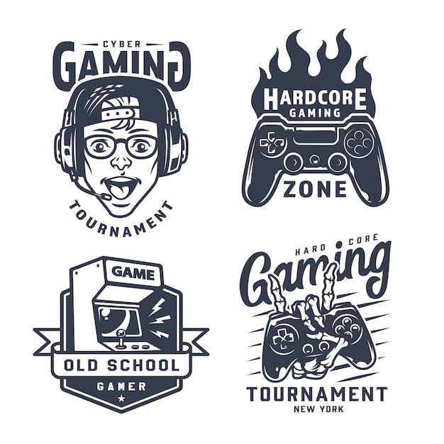 Set di etichette da gioco vintage monocromatico Vettore gratuito