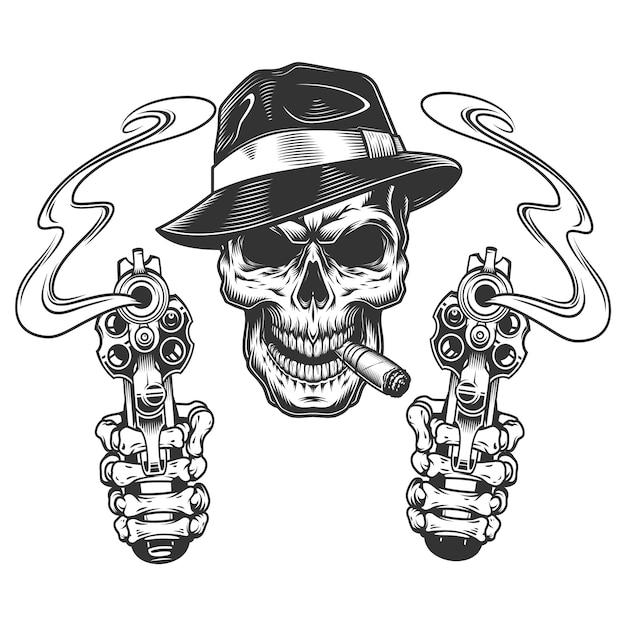 Vintage monochrome gangster skull smoking cigar Free Vector