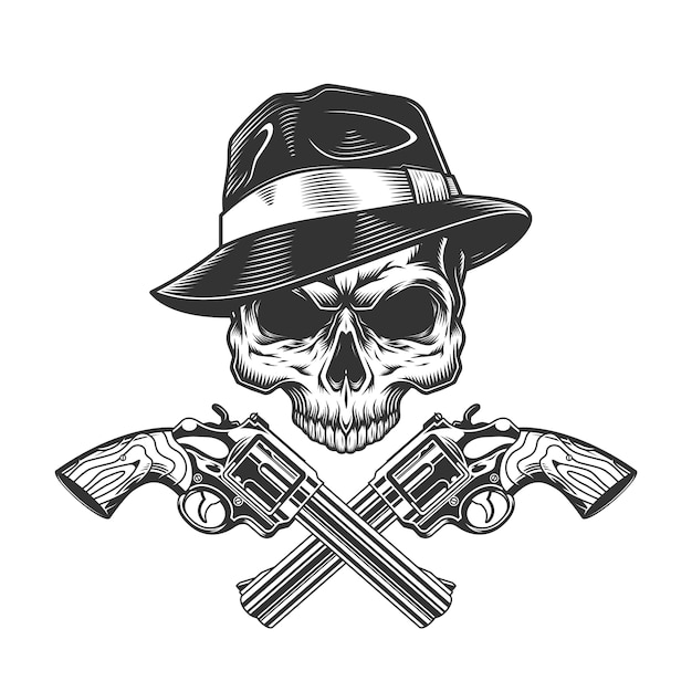 Vintage monochrome gangster skull without jaw Free Vector