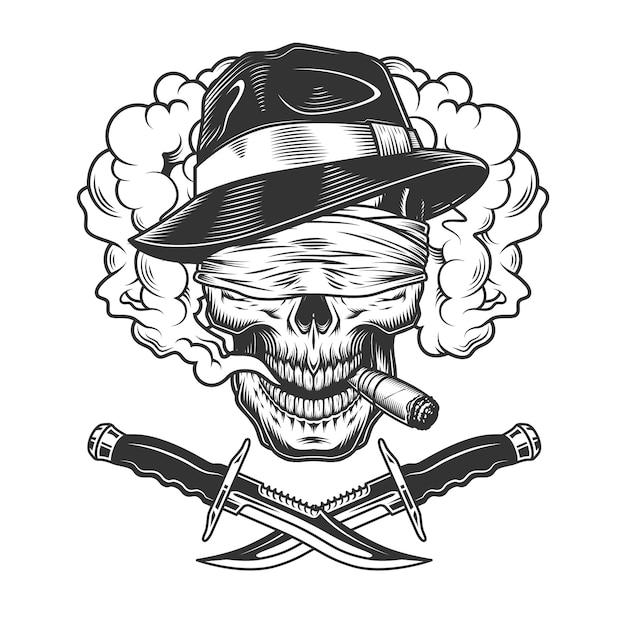 Vintage monochrome gangster skull Free Vector