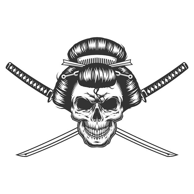ビンテージモノクロの芸者の頭蓋骨 無料ベクター