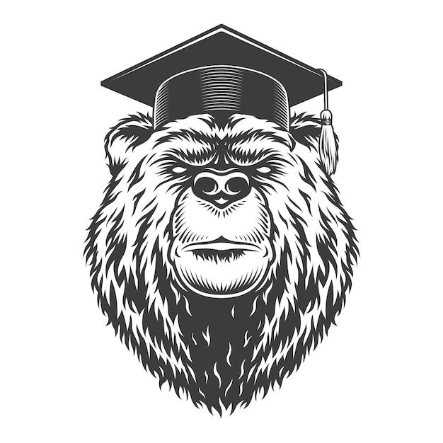 Vintage monochrome graduate bear head Free Vector