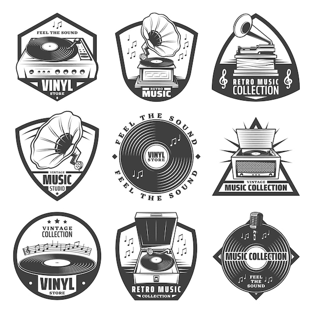 Vintage monochrome gramophone labels set with inscriptions turntable vinyl records phonograph microphone music notes isolated Free Vector