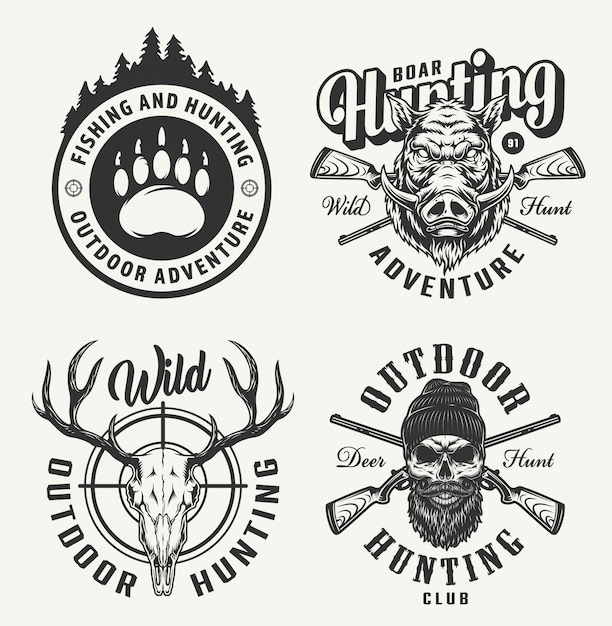Vintage monochrome hunting badges Free Vector