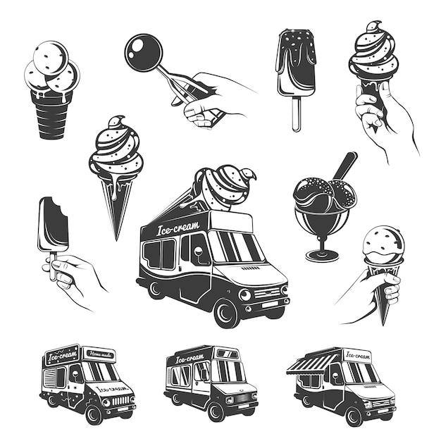 Vintage monochrome ice cream elements set Free Vector