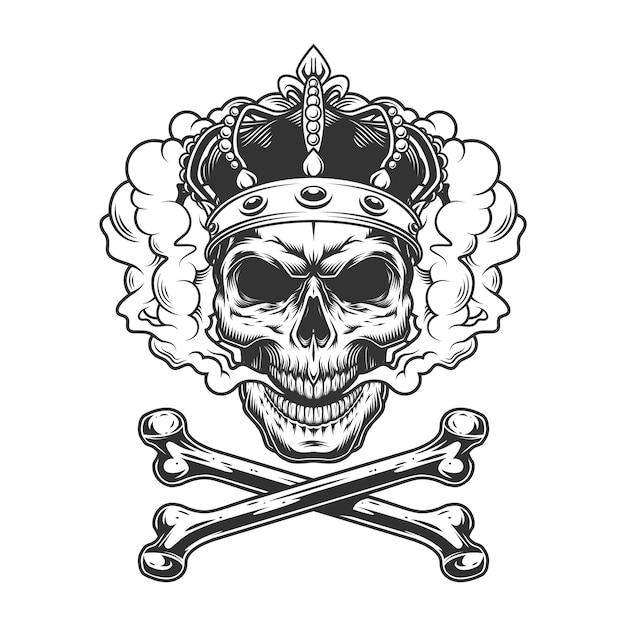 Винтаж монохромный король череп носить корону Бесплатные векторы