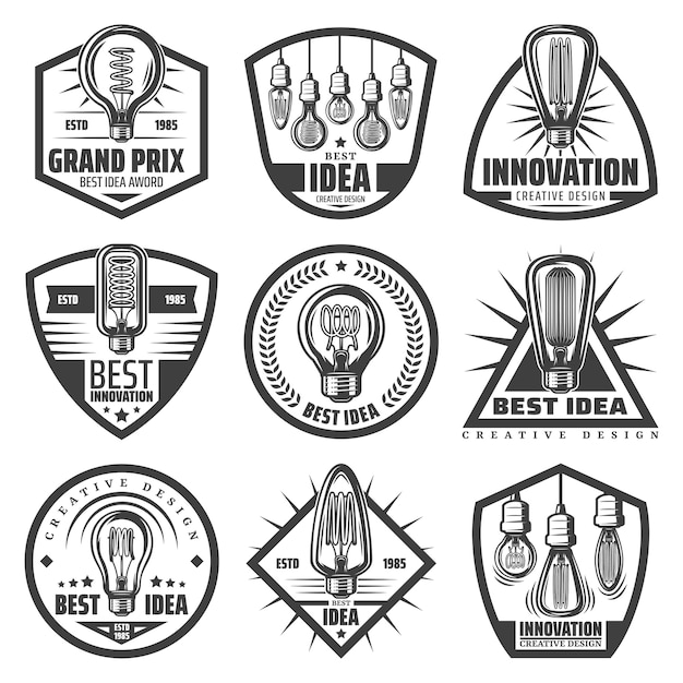 Vintage monochrome light bulbs labels set with inscriptions modern lightbulbs Free Vector