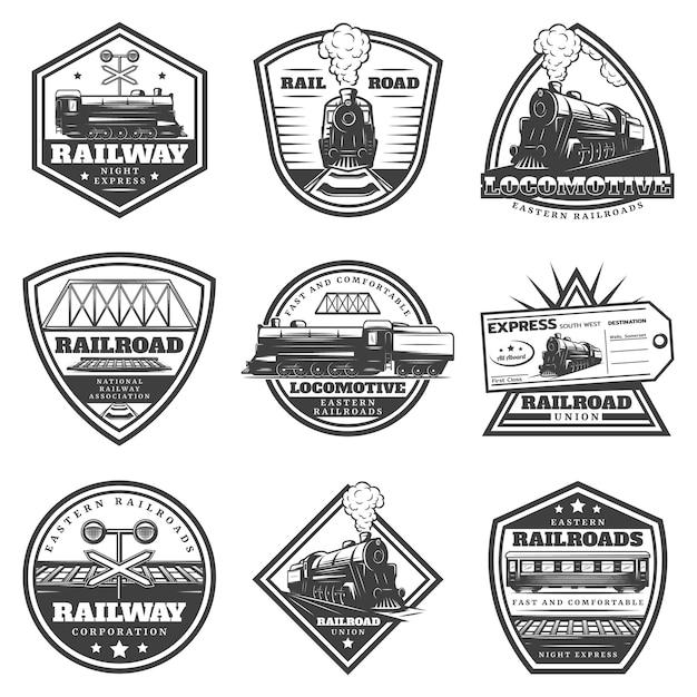 Set di etichette locomotiva monocromatica d'epoca Vettore gratuito