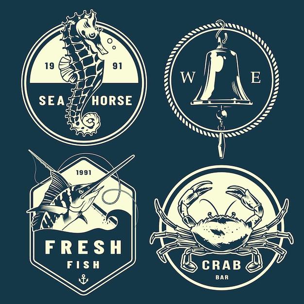 Vintage monochrome marine emblems set Free Vector