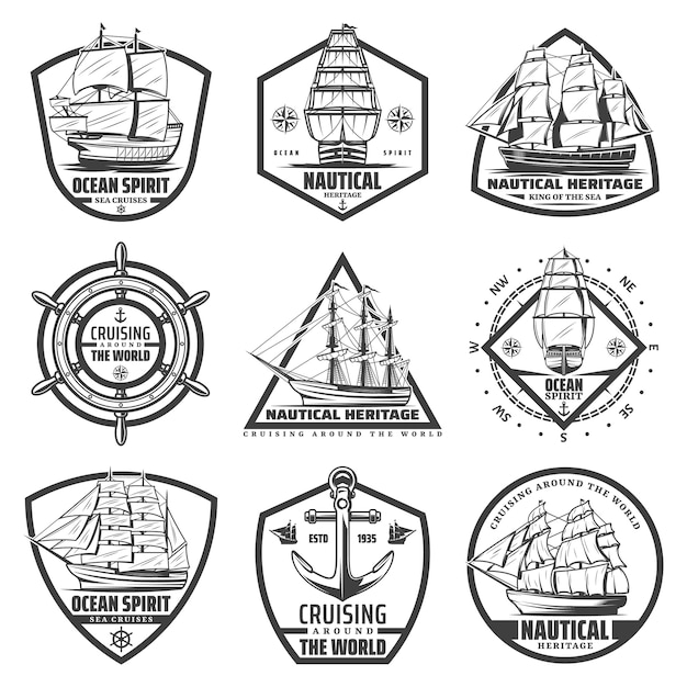 Vintage monochrome marine labels set with ships vessels boats steering wheel Free Vector