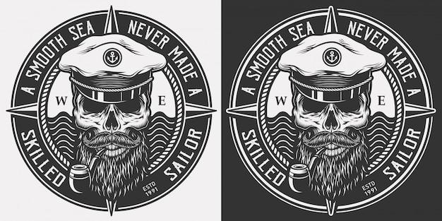 ビンテージモノクロの海洋ロゴ 無料ベクター