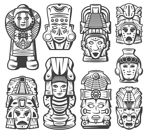 Collezione di oggetti della civiltà maya monocromatica vintage Vettore gratuito