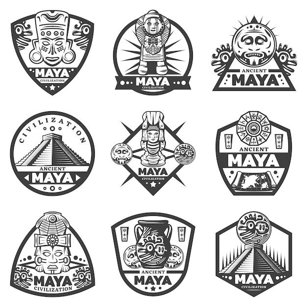 Set di etichette maya monocromatiche vintage Vettore gratuito