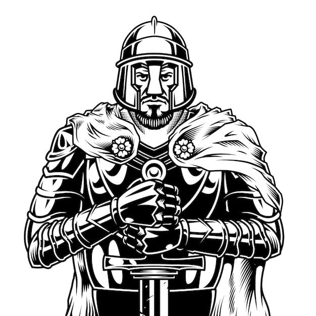 ビンテージモノクロ中世戦士 無料ベクター
