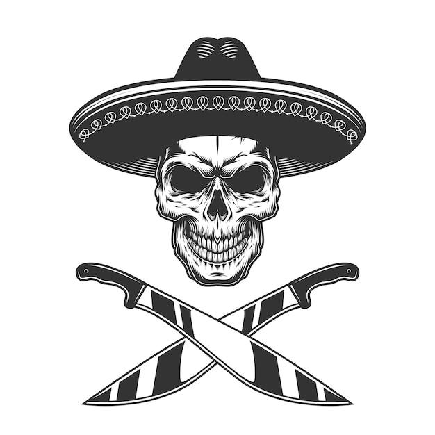 Старинный монохромный мексиканский череп в шляпе Бесплатные векторы