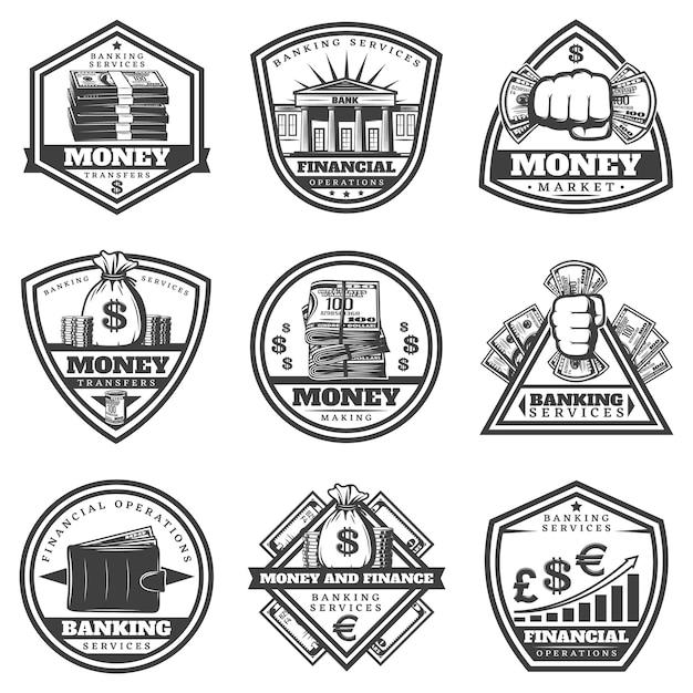 Винтажные монохромные денежные этикетки с надписями, кассовые банкноты, бумажник, монеты, граф изолированы Бесплатные векторы