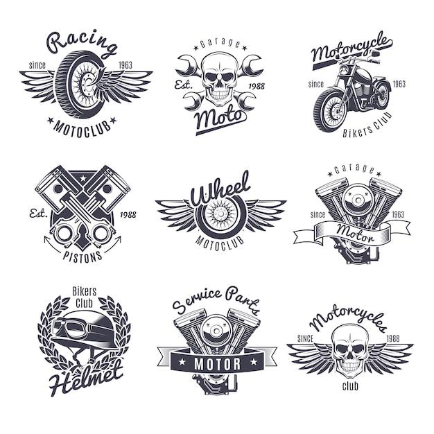 Set di etichette moto monocromatiche vintage Vettore gratuito