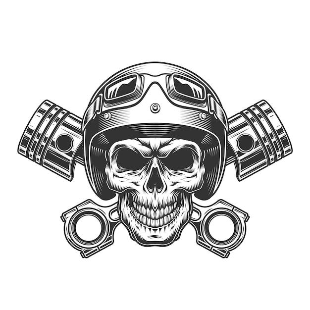 Винтажный монохромный череп мотоциклиста Бесплатные векторы