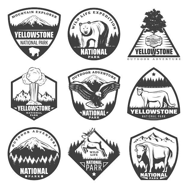Vintage monochrome national park labels set with inscriptions rare animals trees mountains exploding geyser isolated Free Vector