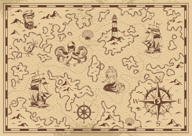 Vintage monochrome old pirate treasure map Free Vector