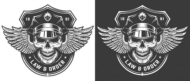 ビンテージモノクロ警察のロゴのテンプレート 無料ベクター