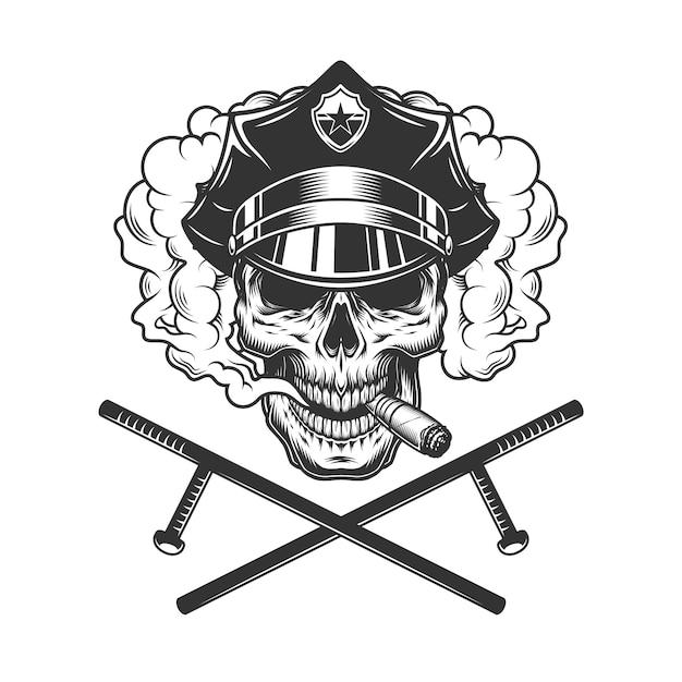 Vintage monochrome policeman skull smoking cigar Free Vector