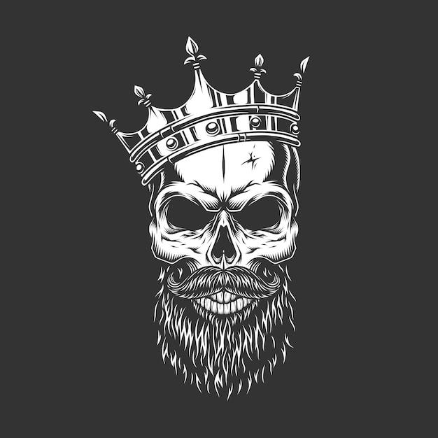 Vintage monochrome prince skull in crown Free Vector