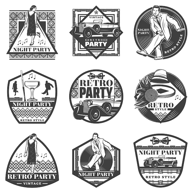 Vintage monochrome retro party labels set with dancing people classic car female accessories wineglass vinyl record isolated Free Vector