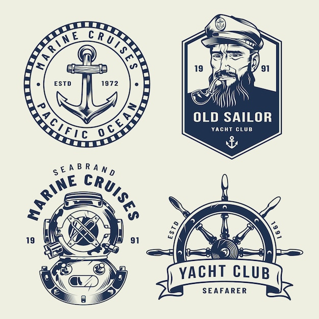 Vintage monochrome sea and marine labels Free Vector