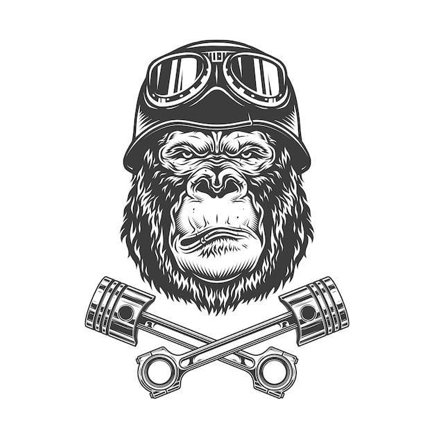 Винтажная монохромная серьёзная голова гориллы Бесплатные векторы
