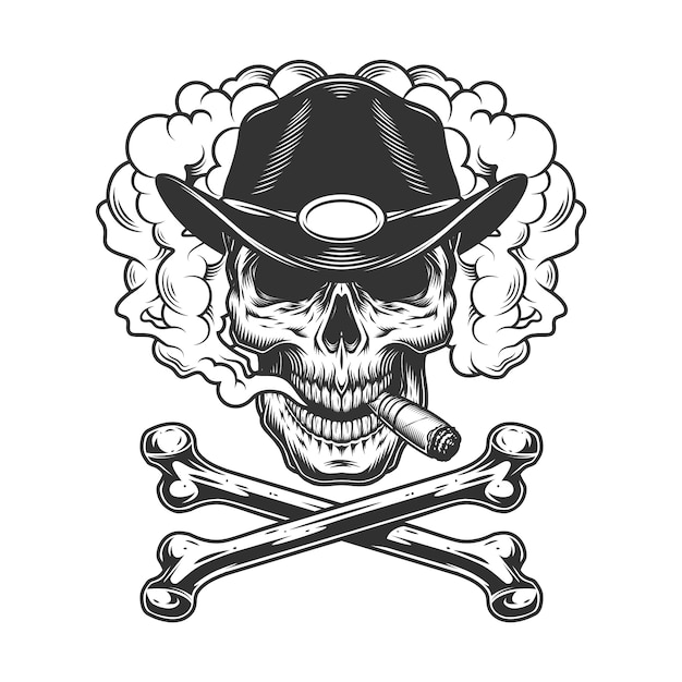 Vintage monochrome sheriff skull smoking cigar Free Vector