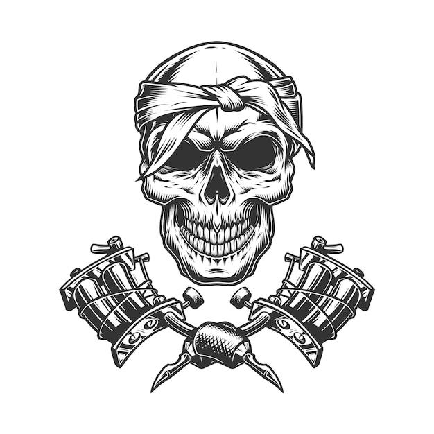Cranio vintage monocromatico in bandana Vettore gratuito