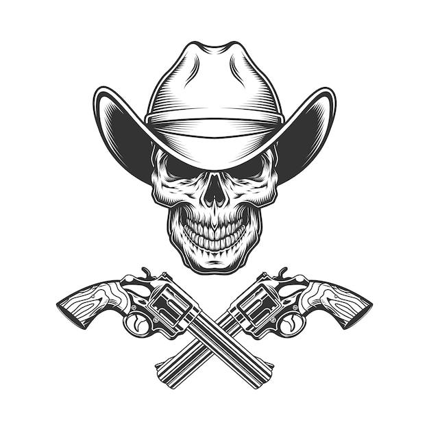 Vintage monochrome skull in cowboy hat Free Vector