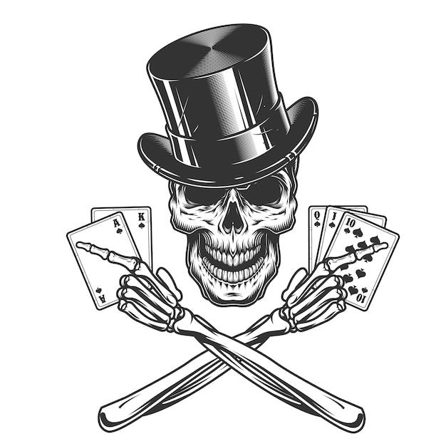 Vintage monochrome skull in cylinder hat Free Vector