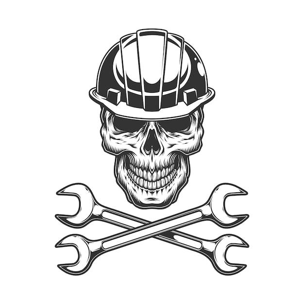 Старинный монохромный череп в строительном шлеме Бесплатные векторы