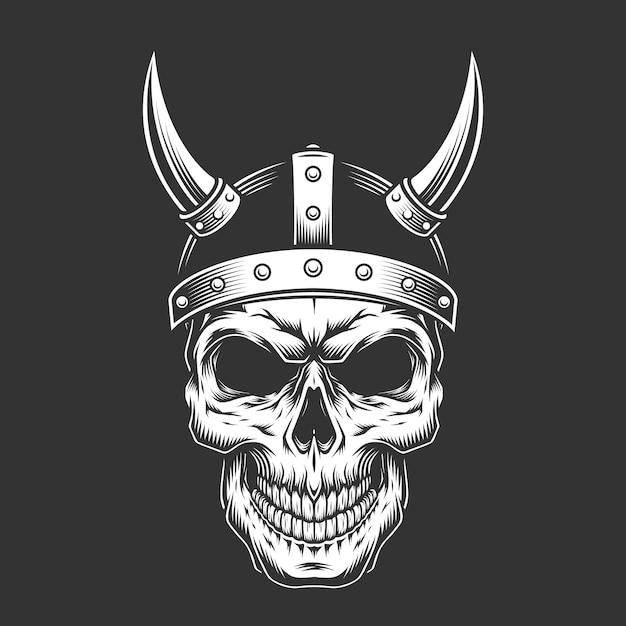 바이킹 헬멧에 빈티지 흑백 두개골 무료 벡터
