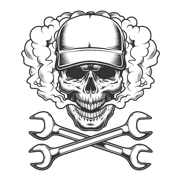Vintage monochrome skull wearing baseball cap Free Vector
