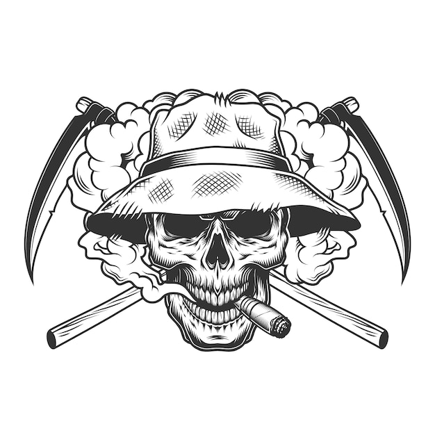 Vintage monochrome skull wearing panama hat Free Vector