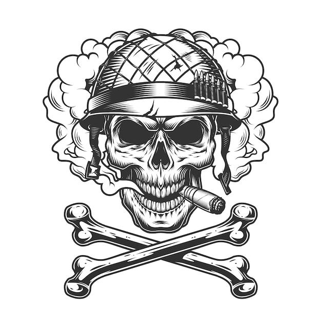 Vintage monochrome skull wearing soldier helmet Free Vector