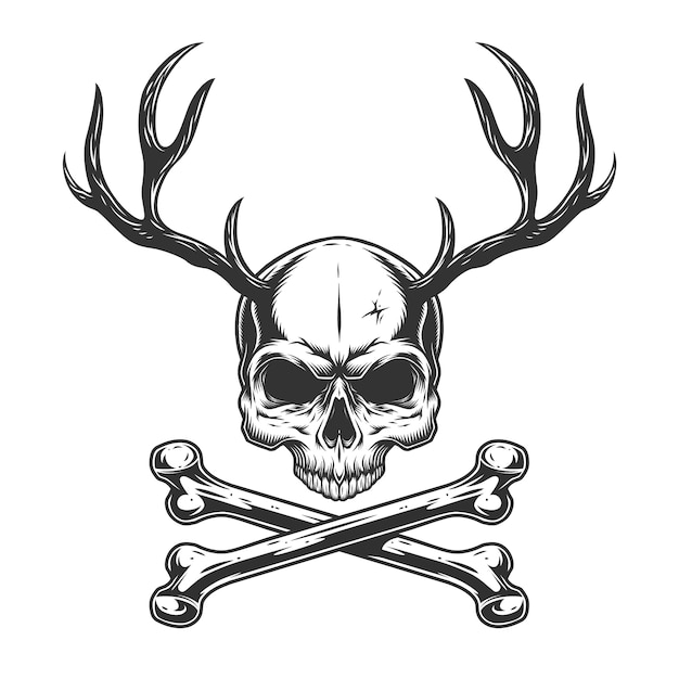 Cranio vintage monocromatico con corna di cervo Vettore gratuito