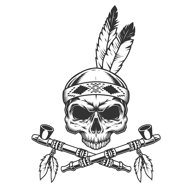 Vintage monochrome skull with indian feathers Free Vector
