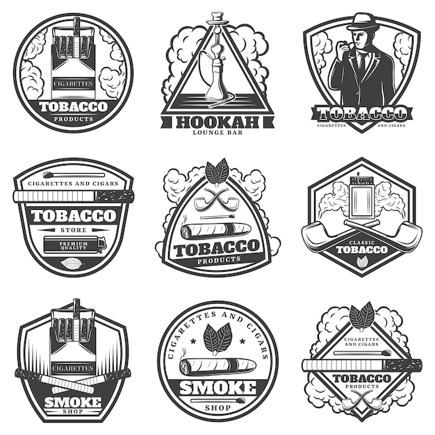 Vintage monochrome smoking labels set Free Vector