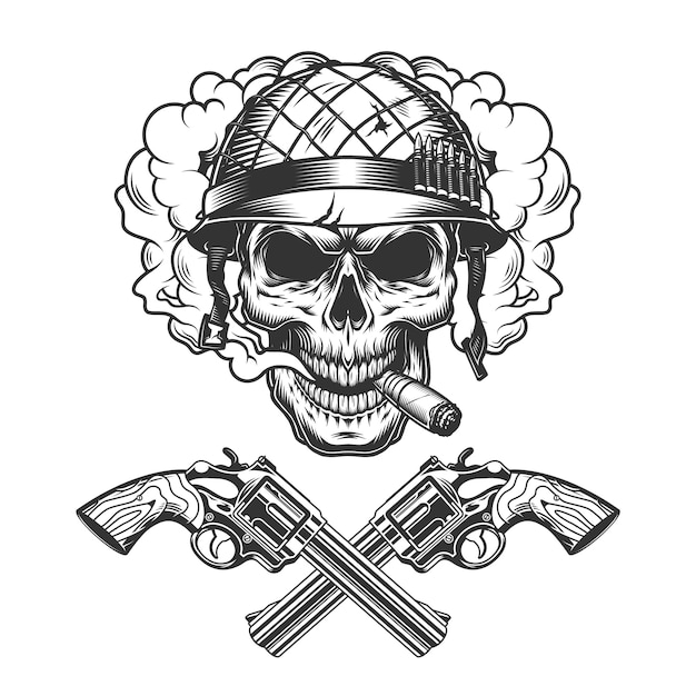 Vintage monochrome soldier skull smoking cigar Free Vector